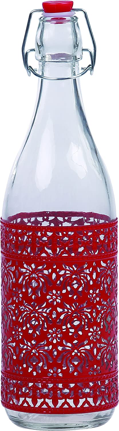 Red Ragalta USA RAG-G-005R Airtight Glass Tabletop Serving Condiment Bottle With Lid