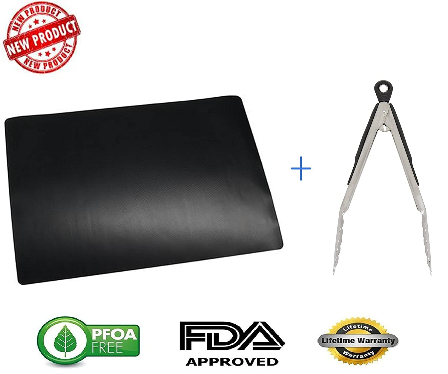 "Extra Large 13""x 16"" BBQ Grill Mat 2 Pack & Stainless Steel Locking Tong Combo - BPA Free - Heavy Duty Use for Baking & Gas, Charcoal, & Electric Grills Brekky COMINHKPR151880"