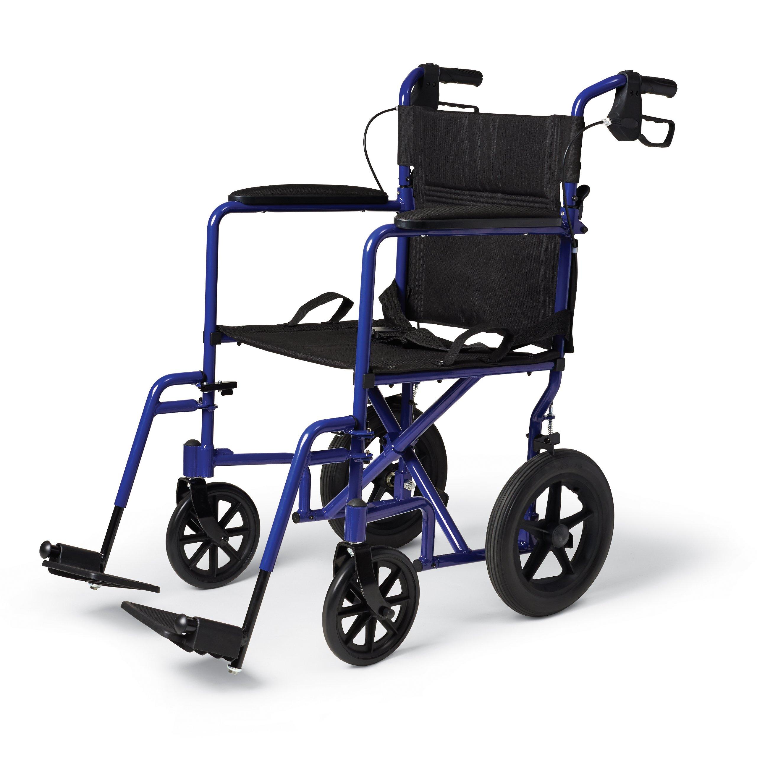 Medline Lightweight Transport Adult Folding Wheelchair with Handbrakes, Blue