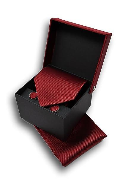Corbata de hombre, Pañuelo de Bolsillo y Gemelos Rojo Oscuro - 100 ...