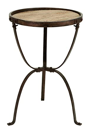 Great Deco 79 Metal Wood Side Table, 27 By 18 Inch