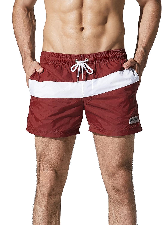 Neleus メンズドライフィットショーツ ポケット付き B073QJD7S3 M,710# Burgundy & Red