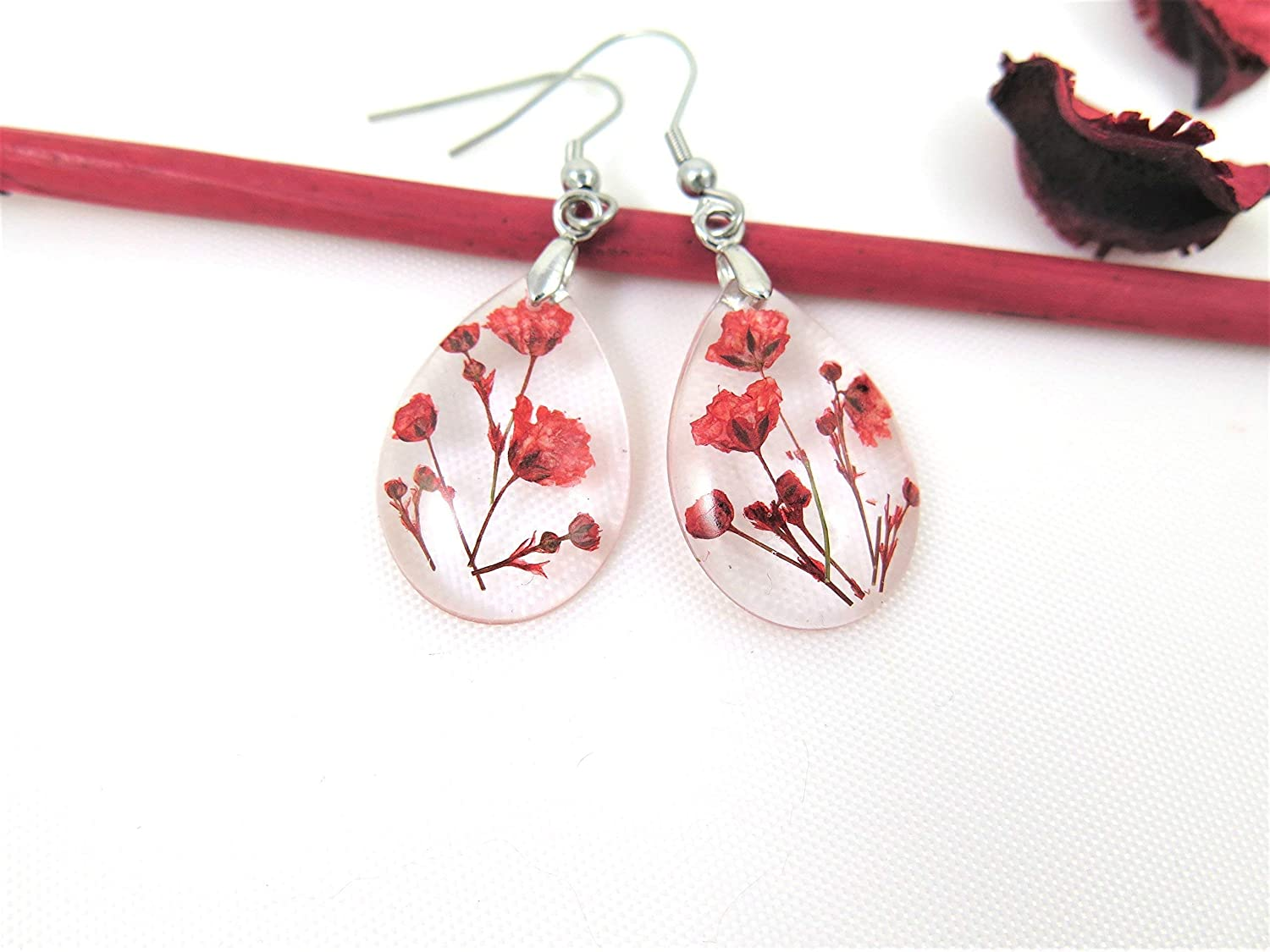 Amazon.com: Handmade Botanical Resin Earrings, Real Flower ...