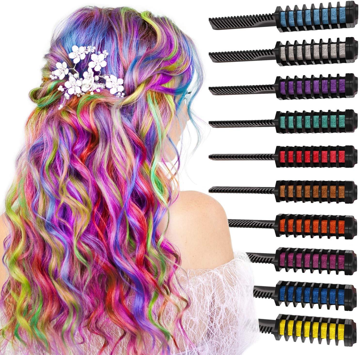 Arteza Peines de tiza de colores para el pelo - 10 colores ...