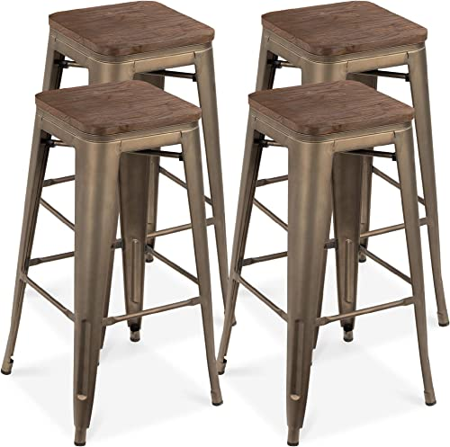 Best Choice Products Set of 4 Indoor Outdoor 30in Industrial Stackable Backless Steel Bar Height Stools w Distressed, Weather-Resistant Finish, Wooden Seats, Rubber Cap Feet – Bronze