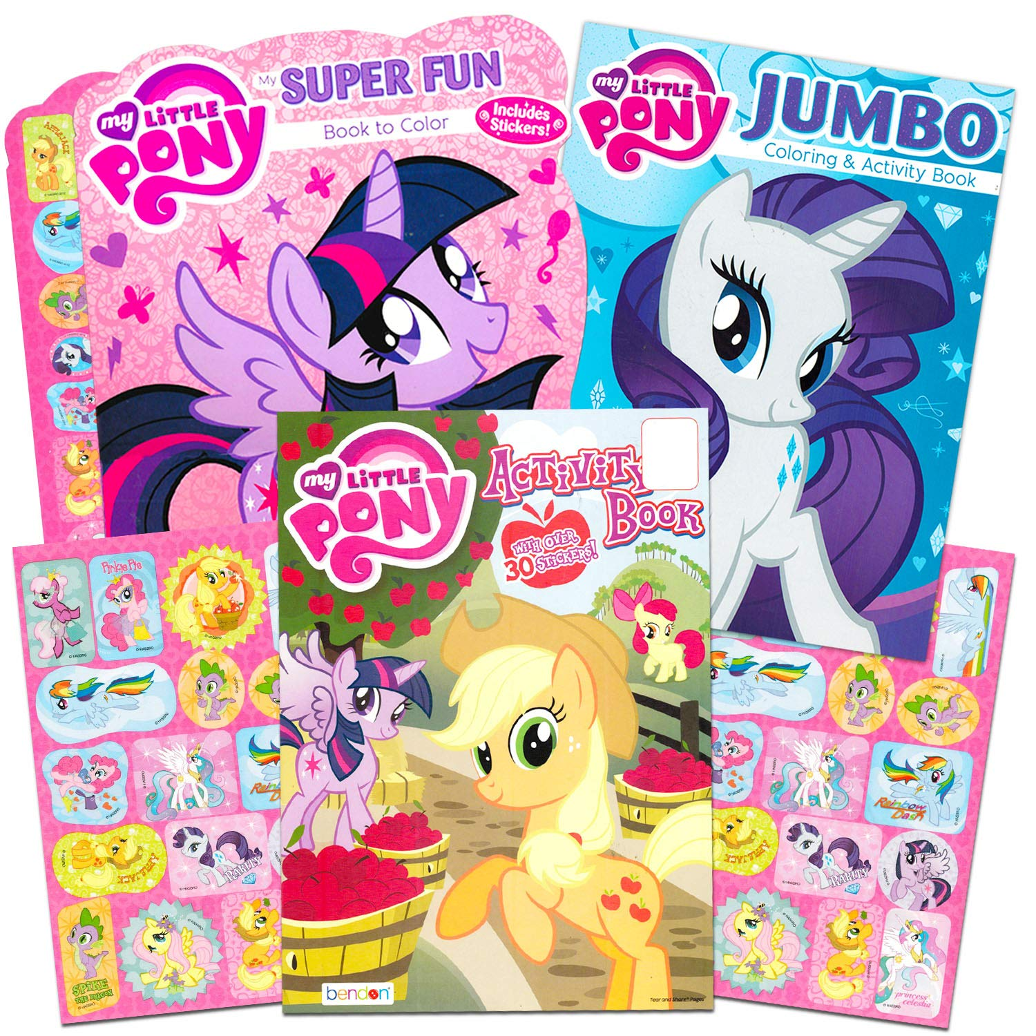 My little pony coloring book super set with stickers 4 mlp books over 375 pages and 75 my little pony stickers total featuring rainbow dash