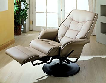 Coaster Home Furnishings Modern Contemporary Upholstered Padded Arm Swivel Lounger Recliner - Bone Faux Leather & Amazon.com: Coaster Home Furnishings Modern Contemporary ... islam-shia.org