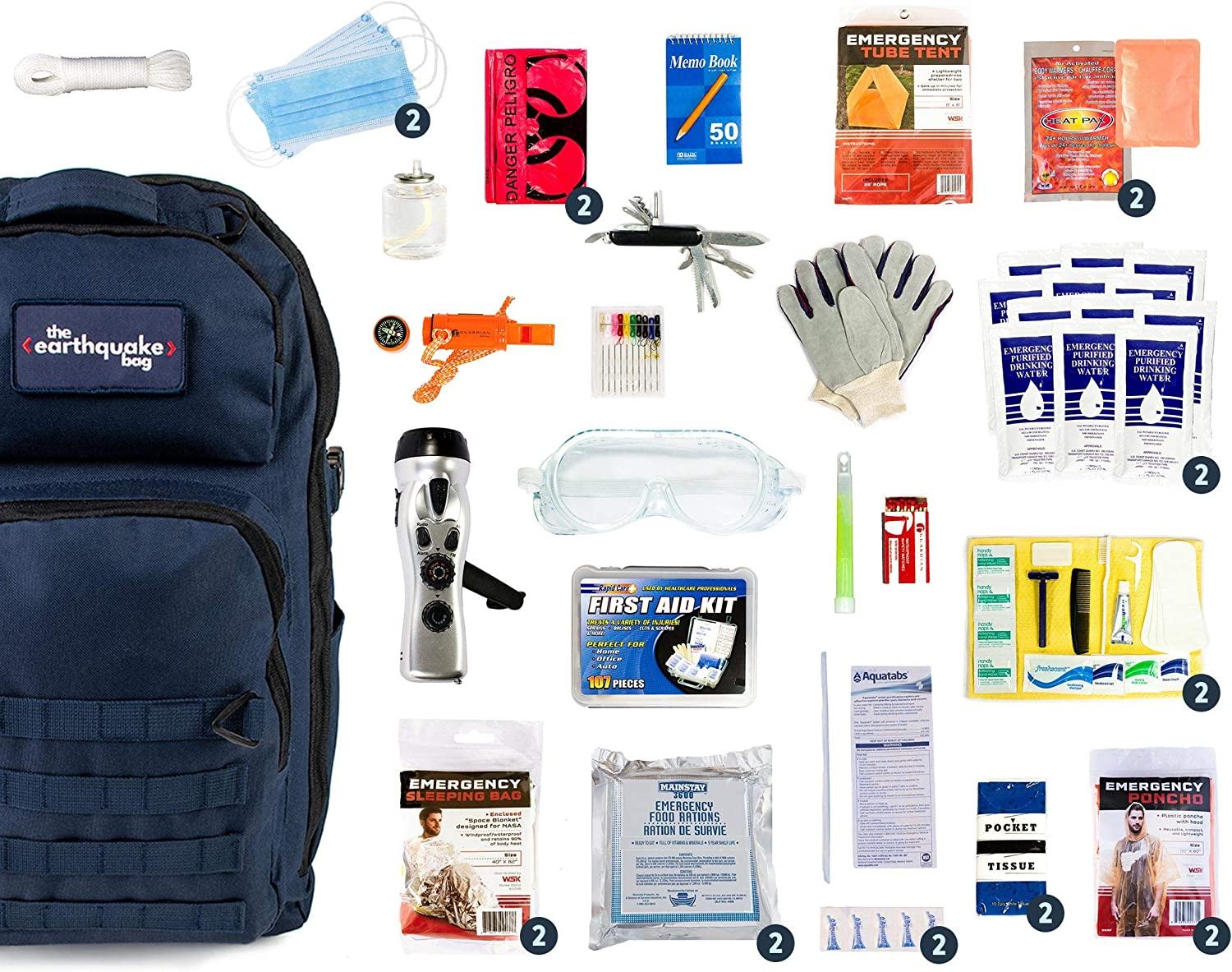 Redfora Complete Earthquake Bag - Most Popular Emergency kit for Earthquakes, Hurricanes, floods + Other disasters (2 Person, 3 Days, Blue Bag) (2 Person)