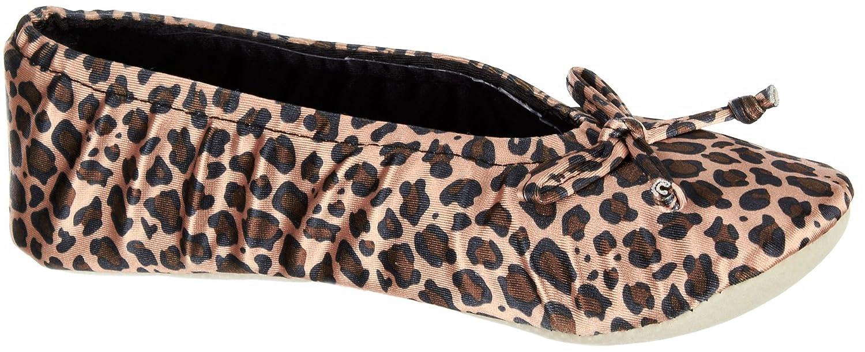 Isotoner Womens Ballerina Satin Slipper X Large Cheetah