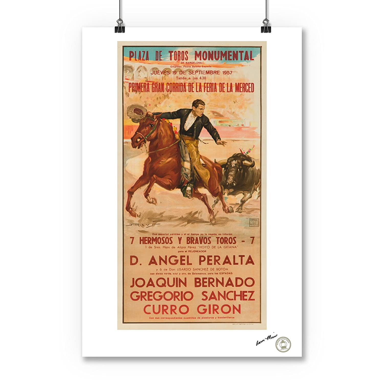 Amazon.com: Plaza de Toros Monumental Vintage Poster (artist: Reus) Spain c. 1957 (16x24 SIGNED Print Master Giclee Print w/ Certificate of Authenticity ...