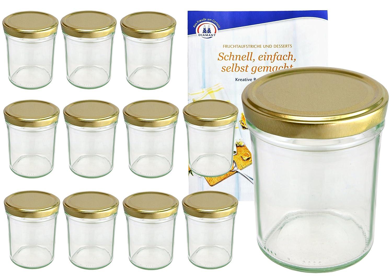 """Set di 12 vasetti da 230 ml /Ø 66 mm Include: ricettario /""""Diamant Gelierzauber/"""" conserva o salsa lingua italiana non garantita barattoli da marmellata MamboCat con coperchio dorato"""