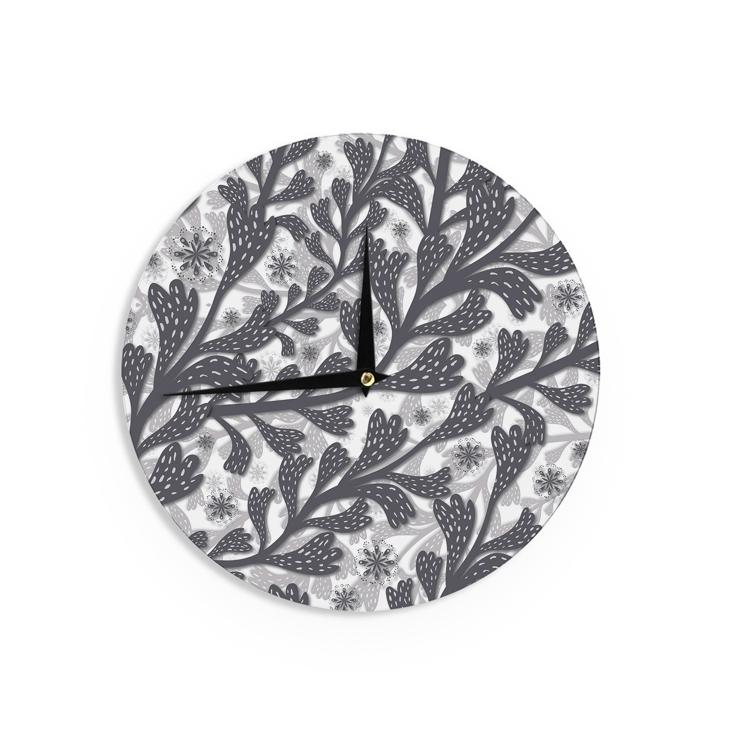 Kess InHouse Akwaflorell Snow Houses Gray Abstract Wall Clock 12' Diameter