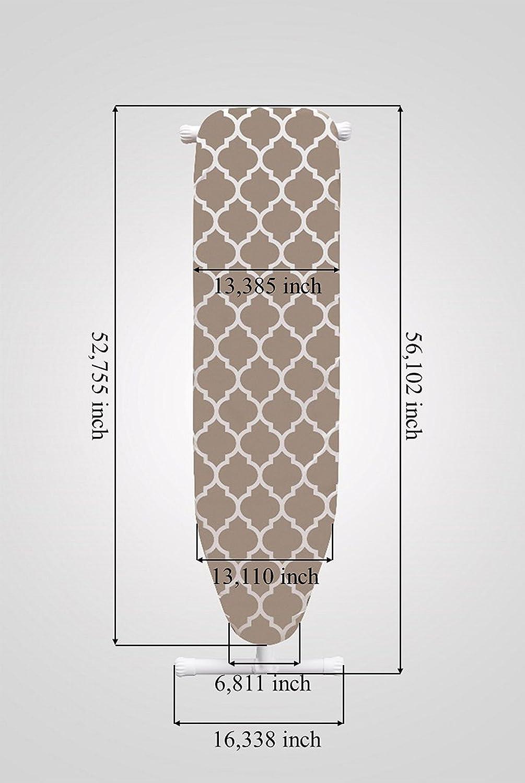 Housse Mabel Home Leg Hauteur r/églable Planche /à repasser avec Marron clair//blanc /à motifs en coton extra