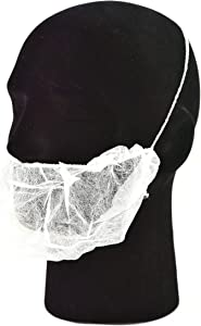 White Disposable Beard Net Covers with Elastic Bands Heavy Duty Beard Restraints, Comfortable Protective Beard Masks, Nonwoven Latex Free Spunbond, Safe & Clean Work Environment, 100 PC