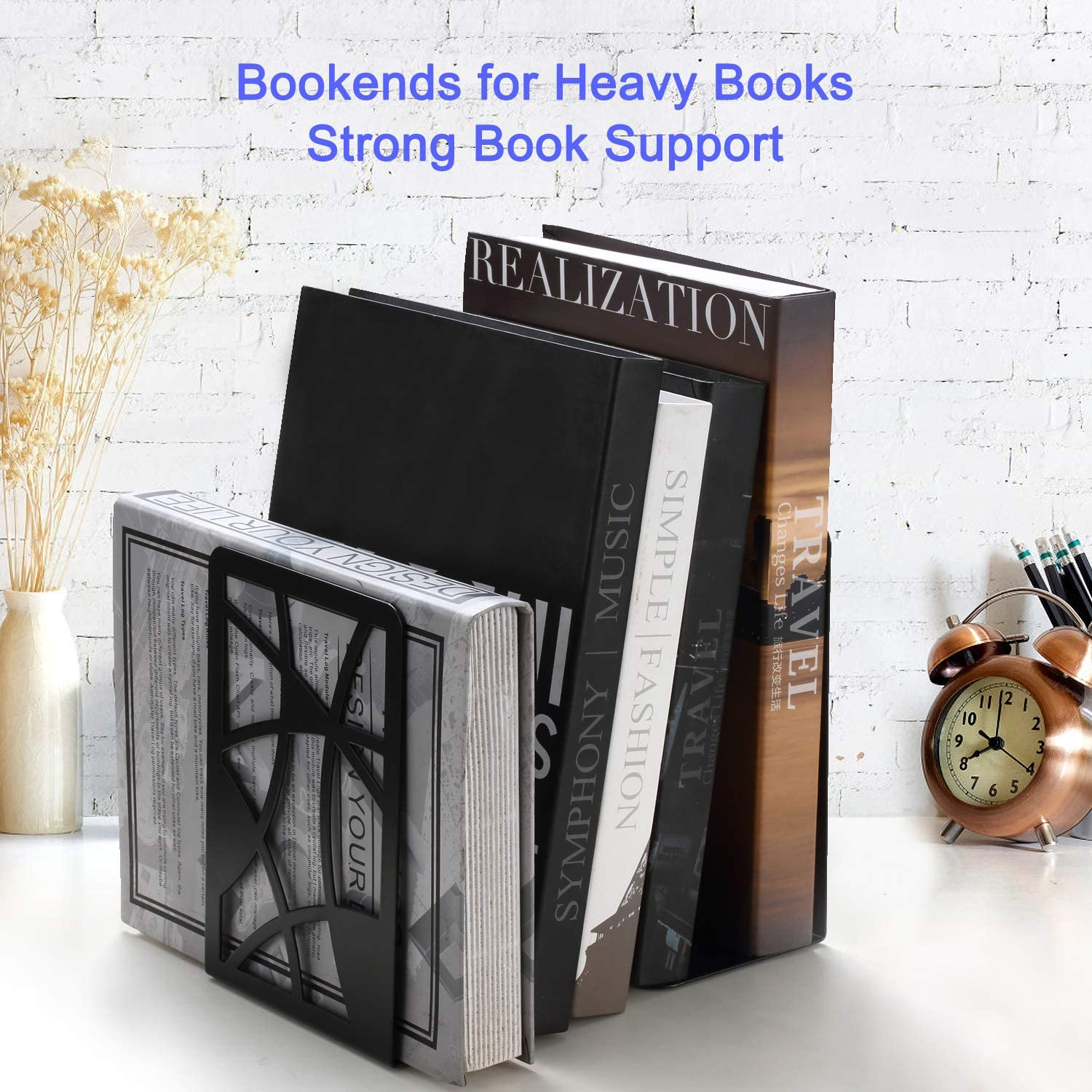 Veecom Black Metal Bookends for Shelves Black- 2 Pair Book Ends Non Skid Bookend Heavy Duty Book Stoppers for Office Decorative Bookends for Heavy Books Bookends Book End Shelf Holder for Kids