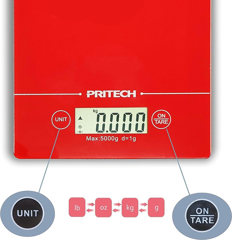 PRITECH Peso m/áximo 5 kg y Alta precisi/ón B/áscula de Vidrio Resistente Digital para Cocina Roja Parada autom/ática y funci/ón de Tara