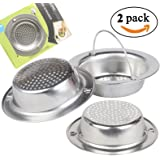 """2PCS Kitchen Sink Drain Strainer, Stainless Steel Sink Drain Strainer with Handle, Large Wide Rim 4.3"""" Diameter Handheld and Durable Strainer Basket, 100% QUALITY GUARANTEED"""
