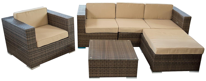 rattan sitzgruppe ecksofa loungegruppe l sofa in braun breite armlehnen inkl wasserabweisenden. Black Bedroom Furniture Sets. Home Design Ideas