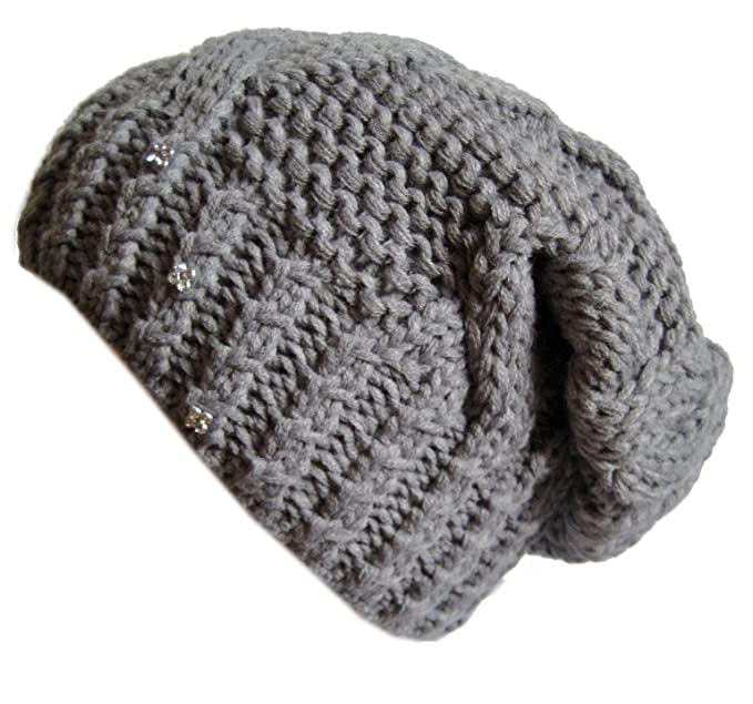 Frost Hats Winter Hat for Women GRAY Slouchy Beanie Hat Knitted Crystal Winter  Hat Frost Hats 8e438238ac9