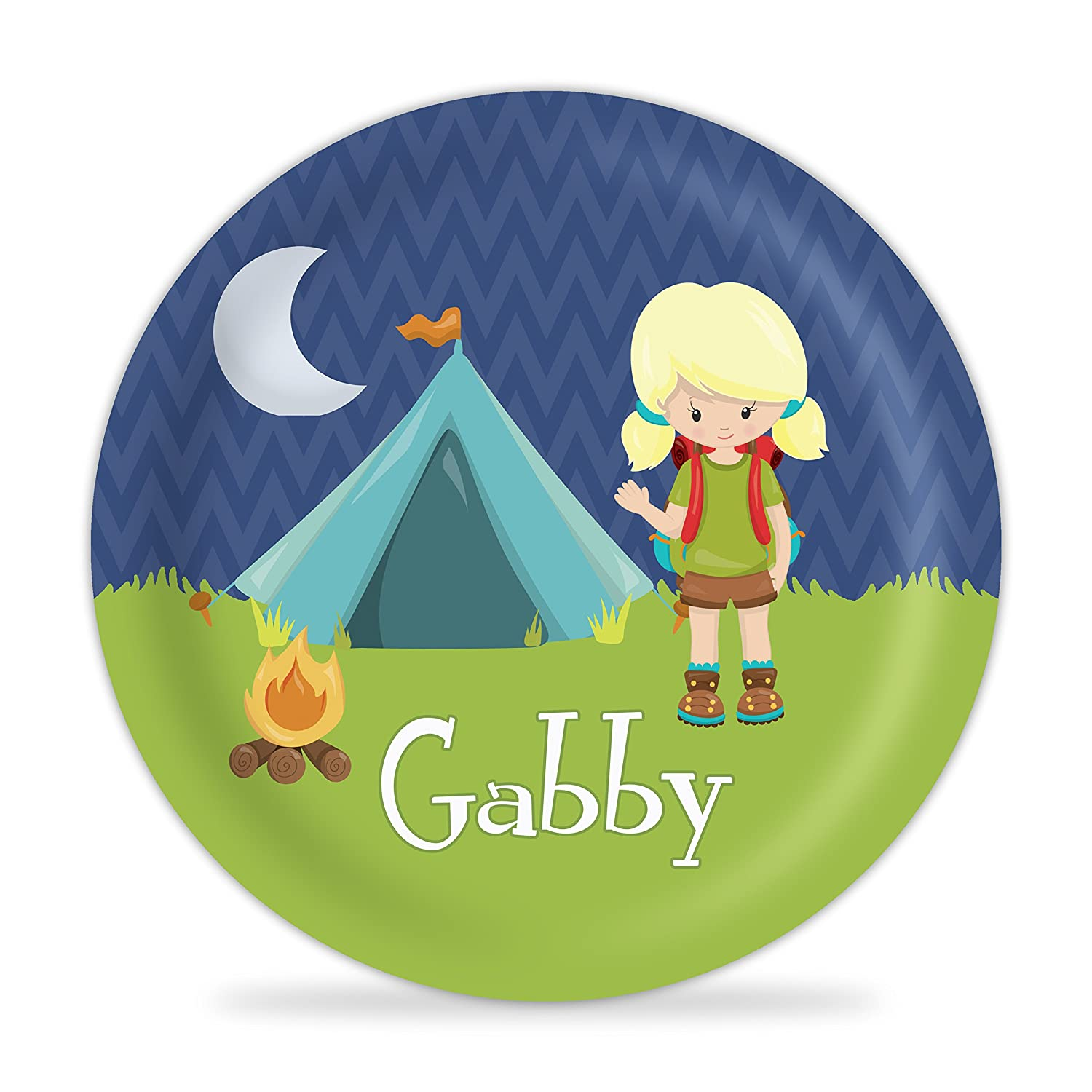 Camping Plate Blue Tent Camper Girl Melamine Personalized Name Gift