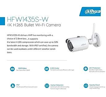 DAHUA HFW1435S-W 4MP Wi-Fi IP Camera Live Monitoring IP67 certified