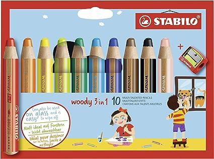 STABILO Woody 3 en 1 Lápiz multitalento - Estuche con 10 colores y sacapuntas: Amazon.es: Oficina y papelería