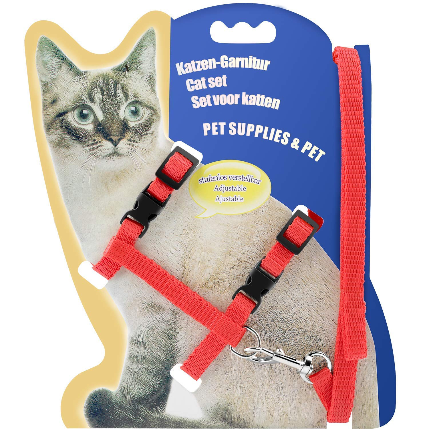 BAODATUI Cat Harness, Adjustable Harness Nylon Strap Collar with Leash, Cat Leash and Harness Set, for Cat and Small Pet Walking (Red)