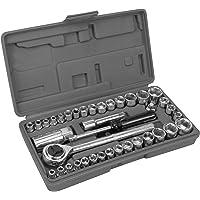 Performance Tool W1173 SAE/Metric Conjunto de soquetes métricos e SAE de 40 peças, chave de 0,63 cm e 0,95 cm