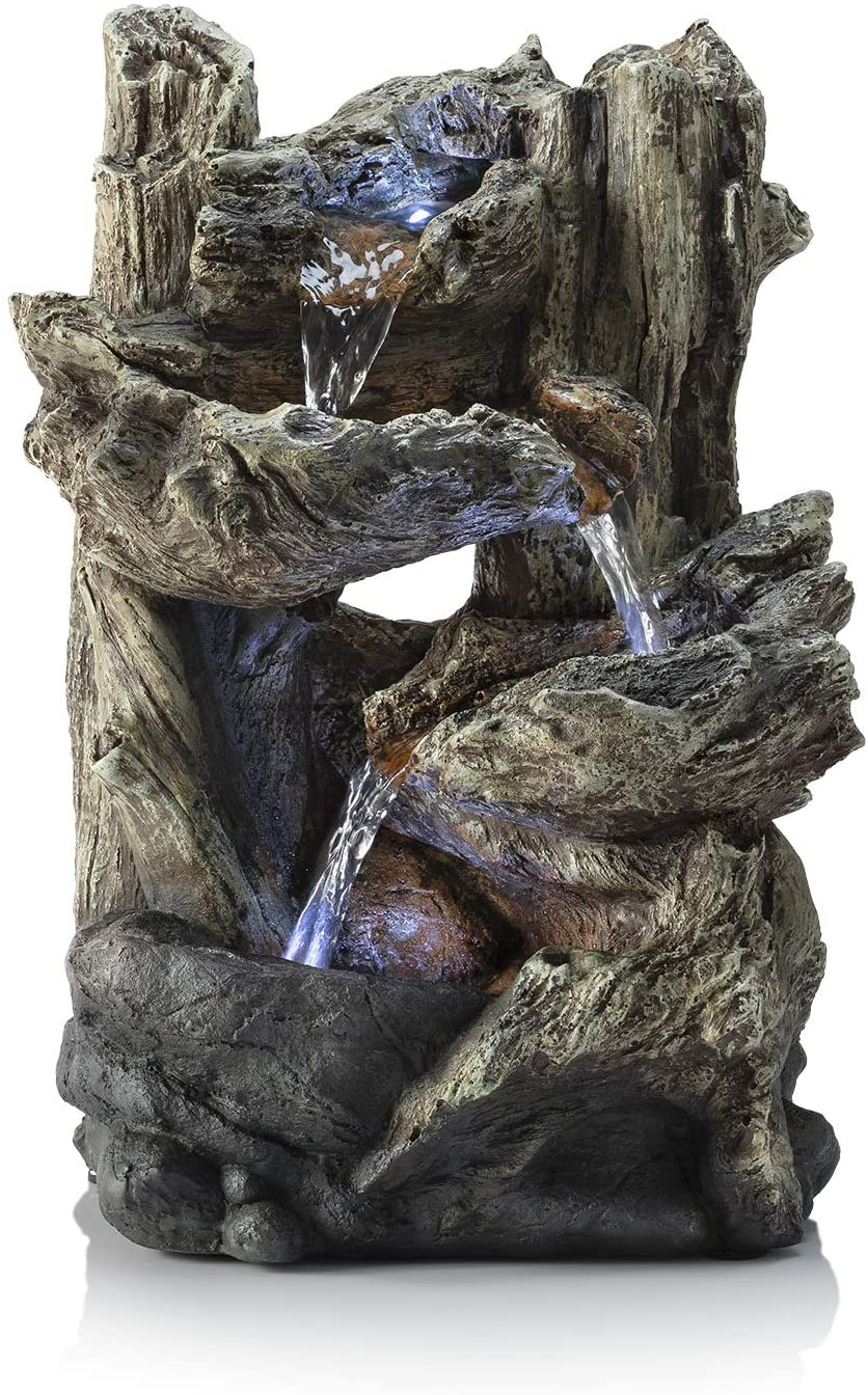 """Alpine Corporation 14"""" Tall Indoor/Outdoor Tiered Log Tabletop Fountain with LED Lights : Indoor Fountains : Garden & Outdoor"""