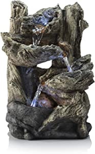 Alpine Corporation Tiered Log Tabletop Fountain with LED Lights - Indoor/Outdoor Water Fountain Décor