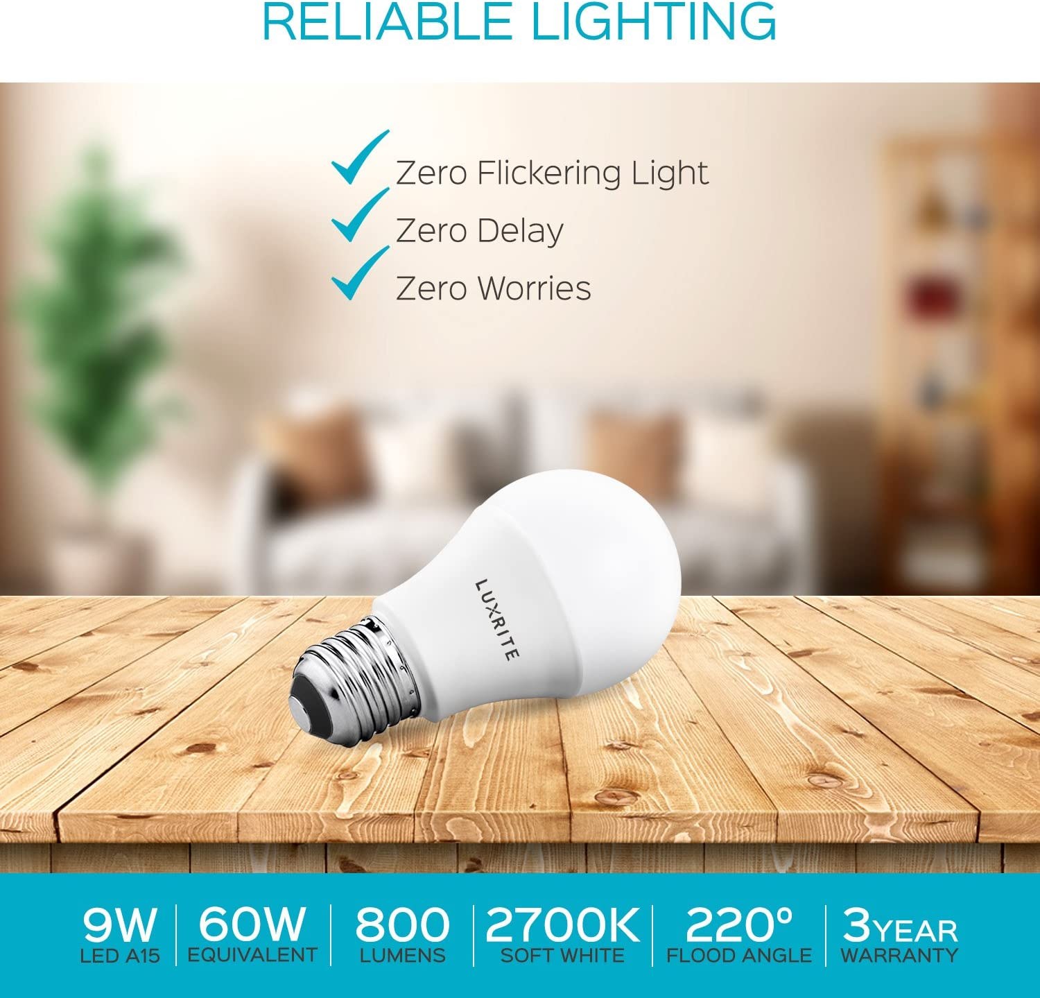 Enclosed Fixture Rated Energy Star Standard LED Bulb 9W 800 Lumens Perfect for Lamps and Home Lighting E26 Base Luxrite A19 LED Light Bulb 60W Equivalent 4000K Cool White Dimmable 6 Pack