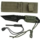 Survivor HK-106320 Series Fixed Blade Outdoor Knife, Tanto Blade, Cord-Wrapped Handle, 7-Inch Overall