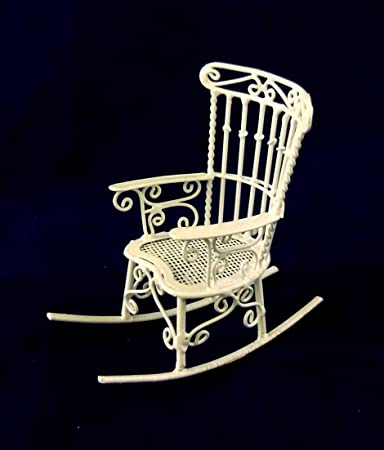 Vanity Fair Dolls House Miniature 1:12 Scale Furniture White Wire Wrought  Iron Rocking Chair