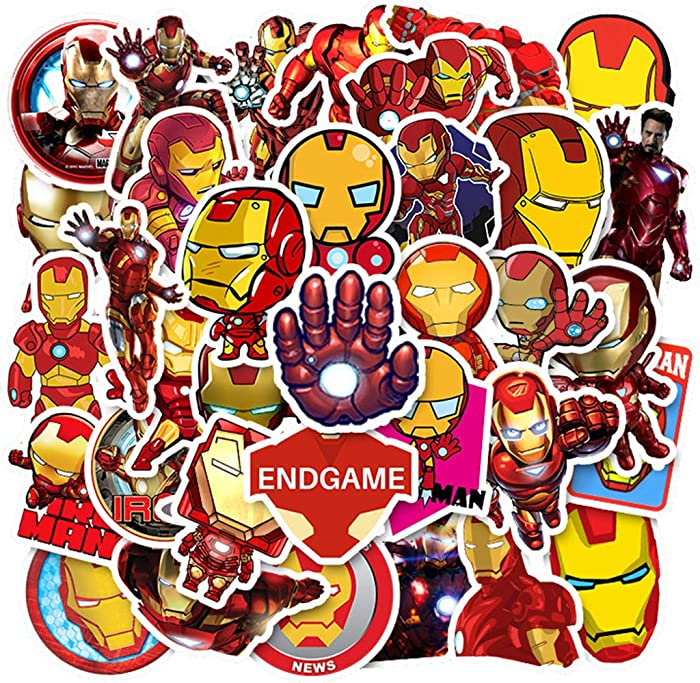 [FOCUS's Stickers]35Pcs Iron Man Stickers for Laptop Cellphone Water Bottle Hydro Flask Skateboard Luggage Car Bumper, etc FJHSL