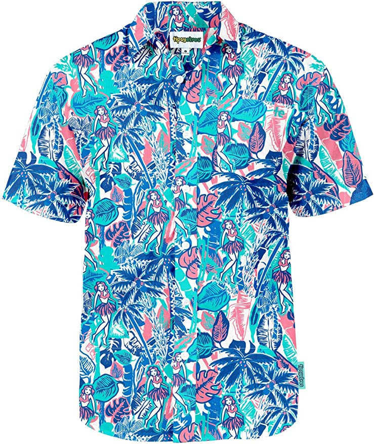 80s Men's Clothing   Shirts, Jeans, Jackets for Guys Mens Bright Hawaiian Shirt for Spring Break and Summer - Funny Aloha Shirt for Guys $39.95 AT vintagedancer.com