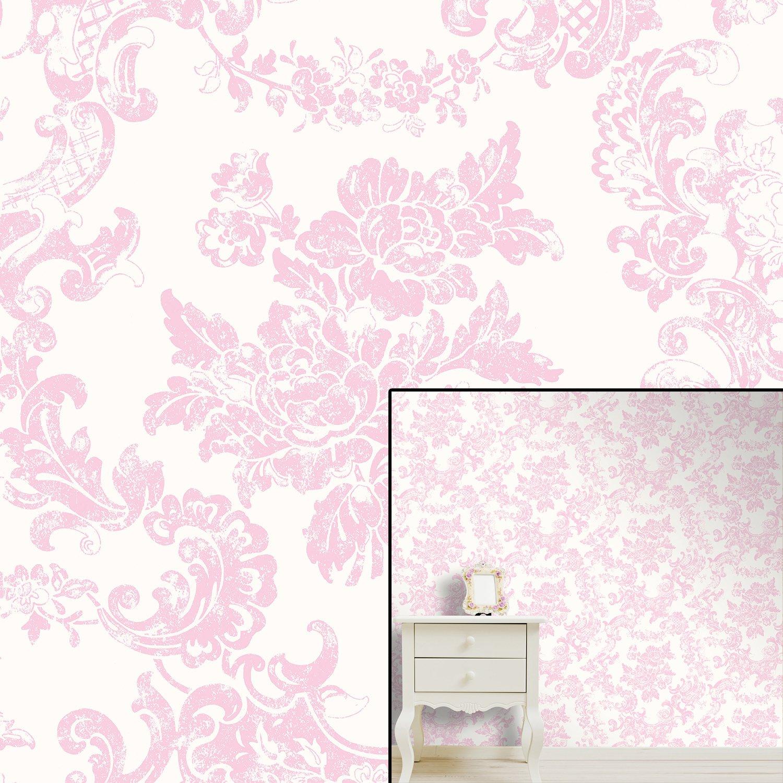 Pink Damask Wallpaper Bedroom Hanmero 10m Classic Nonwoven Glitter Flocking Textured Damask Wall