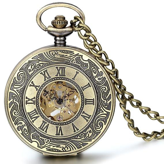 Jewelrywe Reloj de Bolsillo mecánico Cuerda Manual, clásico Retro Reloj Bronce, Pantalla Dual Hueco, Reloj de Bolsillo Antiguo: Amazon.es: Relojes