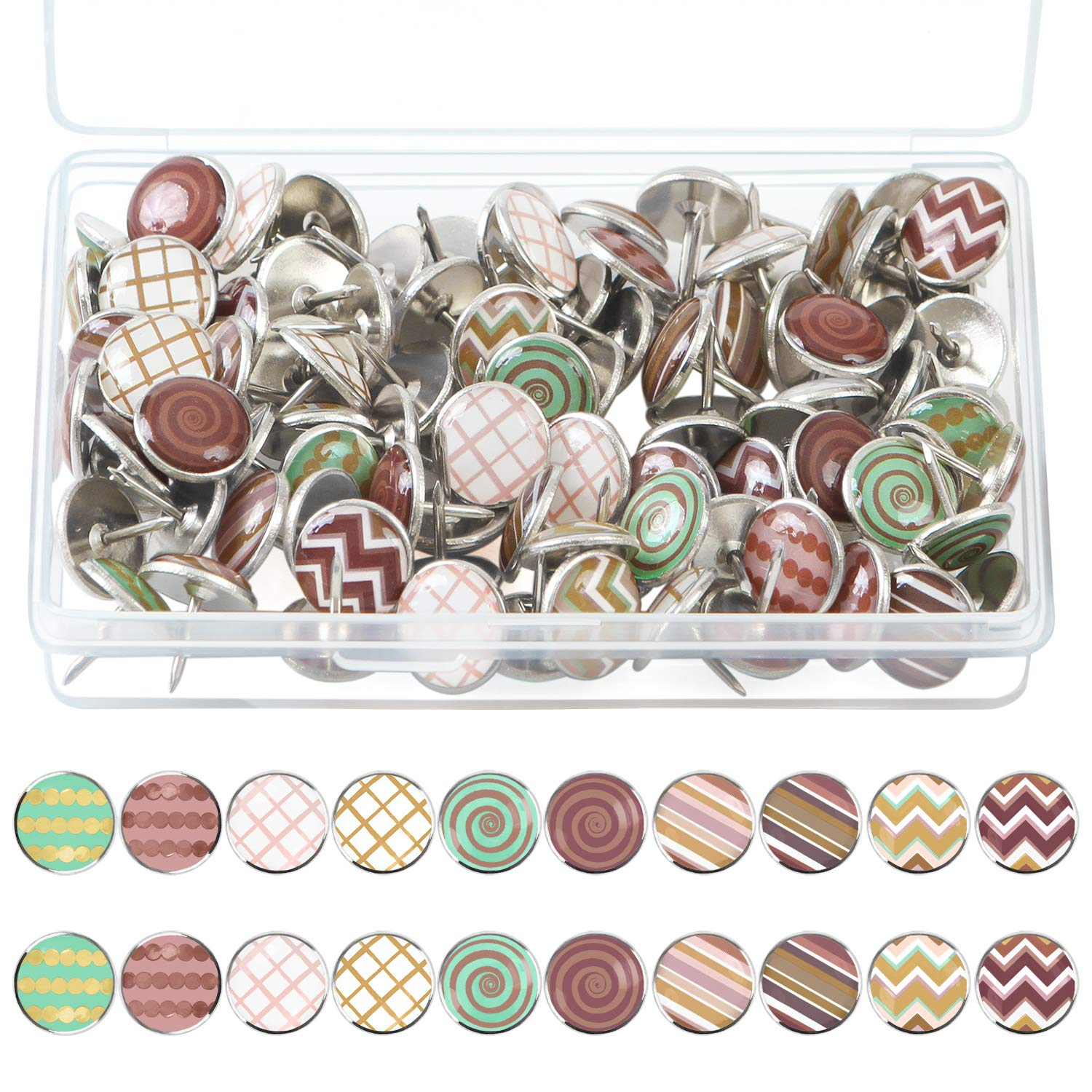 Elcoho 100 Pieces Creative and Fashionable Steel Push Pins Decorative Thumbtacks for Wall Maps, Photos, Bulletin Board or Cork Boards,10 Different Patterns
