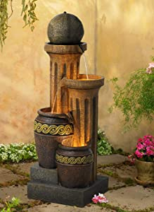 "John Timberland Sphere Jugs and Column 50"" High Fountain with LED Light"