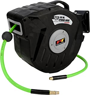 Retractable reel with fully enclosed case. Automatic roller guide ensures smooth and even recoil. 1/4