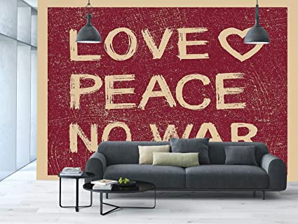 amazon com large wall mural sticker [ 1960s decorations,love peacelarge wall mural sticker [ 1960s decorations,love peace no war text pacifist rusty line