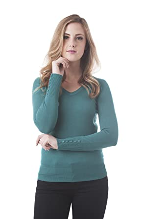 1e548c398b3 Women s Long Sleeve V Neck Knit Sweater Top with Buttons On The Sleeve  (Small