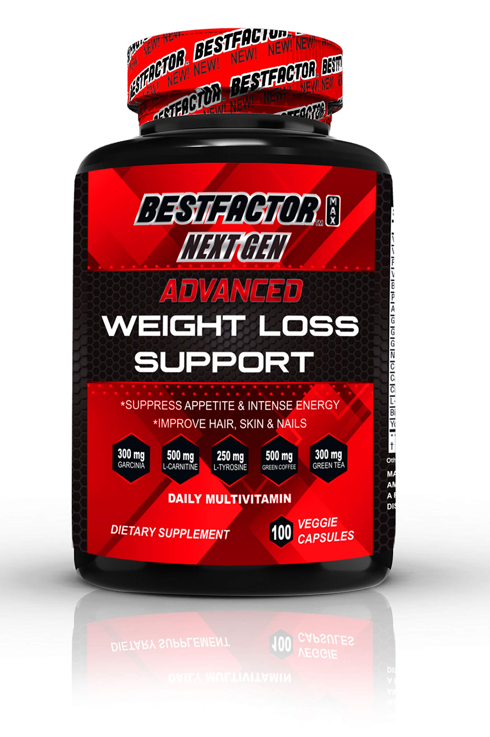 Weight Loss Pills for Women & Men by BESTFACTOR (100 Veggie Caps). Thermogenic Fat Burner & Appetite Suppressant. Fast Metabolism Diet Pills & Weight Loss Supplements for Energy - Daily Multivitamin.