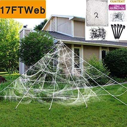 Halloween Decorations Outdoor Scary.Camlinbo Halloween Decorations Outdoor Giant Spider Web Props Scary Large Fake Spiders And Stretch Cobwebs Decor Yard Lawn Roof Window Mega Triangular