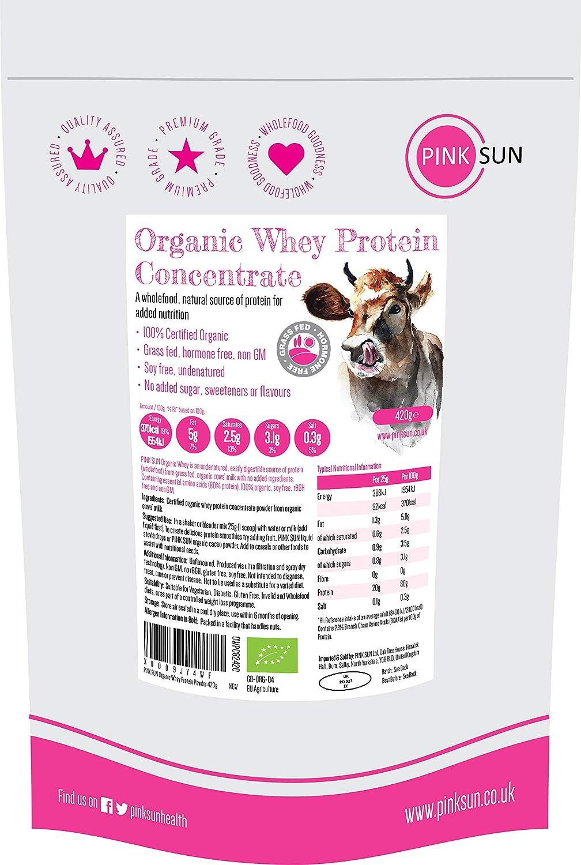 PINK SUN Concentrado de Proteína de Suero Orgánico 420g Bio Hierba ...