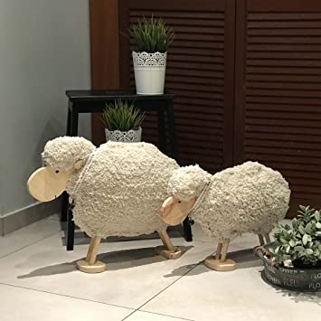 Reneefer | Holz Dekoration Ostern XXL Mittleres Und Großes Osterschaf Deko  Frühling Figur Groß Schaf Holzfigur