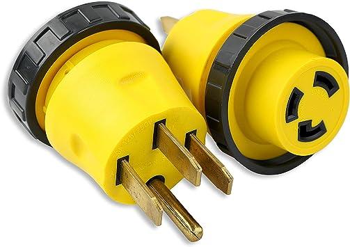 ALEKO L50-30 RV Electrical Locking Adapter 50A Male To 30A Female Locking Plug Connector
