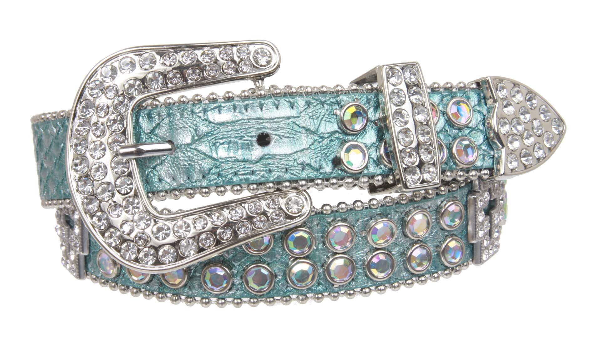 Kids 1'' (25 mm) Western Cowgirl Rhinestone Cross Studded Skinny Belt, Blue | 28''