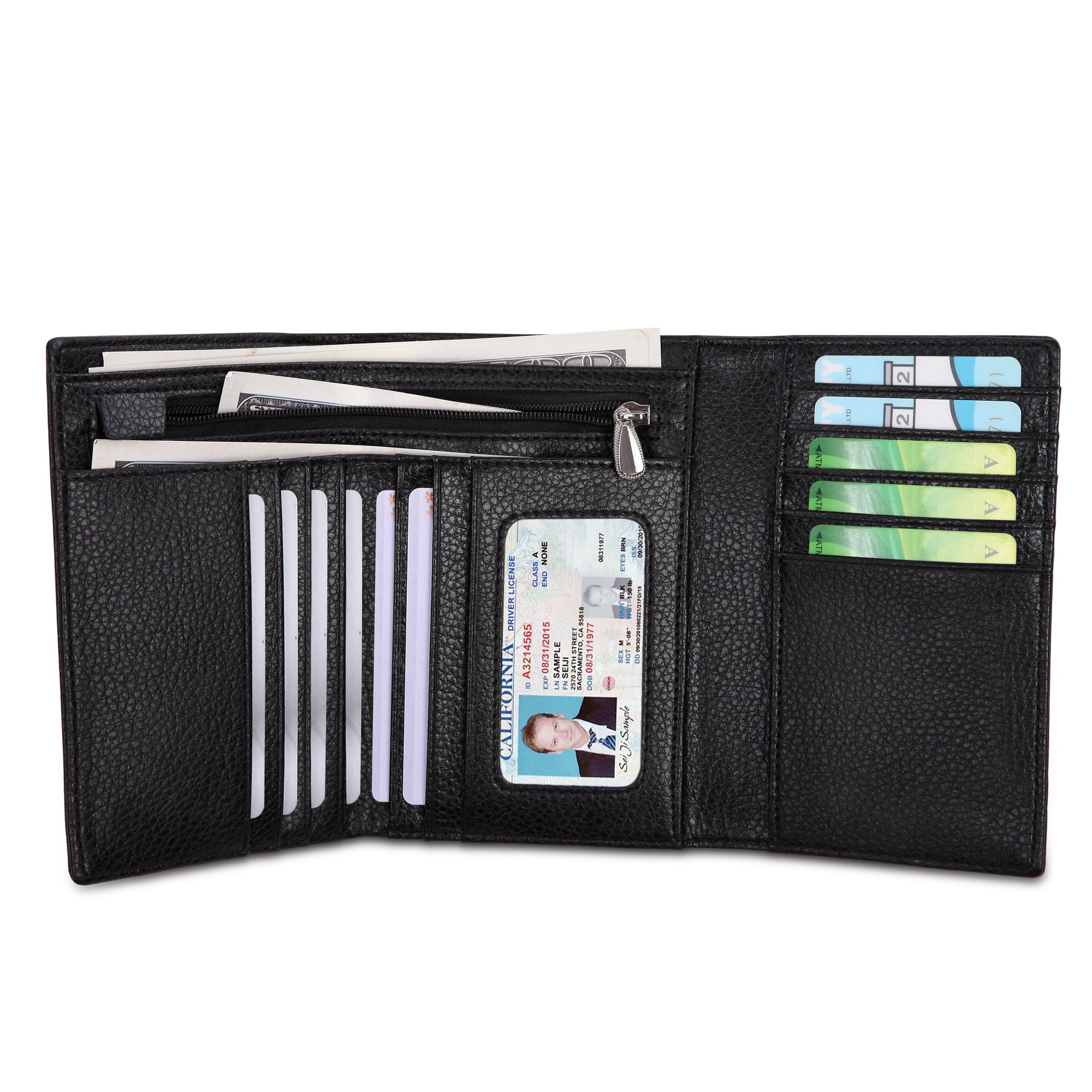 Women RFID Blocking Real Leather Trifold Wallet - Clutch Checkbook Wallet for Women - Shield Against Identity Theft (Short black)