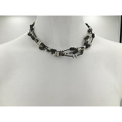 collar de cuero y zamak. Collar boho, Boho necklace, woman necklace, collar estilo uno de 50, leather necklace